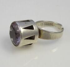 Vintage Rare Huge Artistic Modern ALTON SWEDEN 935 Sterling Silver Amethyst Ring