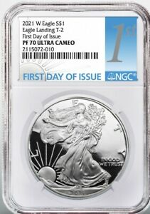 2021 W  $1 PROOF SILVER EAGLE TYPE 2 NGC PF70 FIRST DAY OF ISSUE PRESALE FDOI