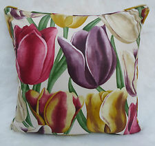 Sanderson Fabric Cushion Cover  'Early Tulips' Aubergine/Cherry - Vintage Prints