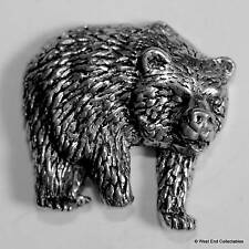Grizzly Bear Pewter Pin Brooch -British Hand Crafted- Black Wild Alaskan Bear