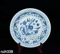 Chinese  the Ming dynasty  Blue and white  A bunch of lotus  porcelain plate