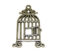 10 Metall Anhänger Vögel Käfig Silber 30mm Metallperlen für Halskette BEST M555