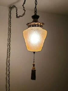 Vintage Amber Swag Lamp Pendant Glass MCM Hanging Light Pull String Plug In