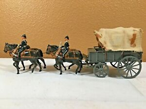 VINTAGE Britains? Toy Covered Wagon, Four Horses, Two Riders - Cast Metal -NICE!