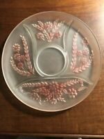 "Satin Finish 11.50 ""Round 5 Section Divided Glass Tray Pink Flower Accents  EUC"