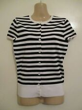 UK 8 10 S RALPH LAUREN blue label POLO black white stripe cardigan top designer
