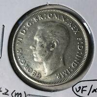 1942 (m) Australia 1 Florin King George VI Silver Coin VF/XF Condition