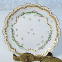 Lewis Straus & Sons Limoges France PLATE Rose Garland LS&S Gold Rim 1890-1920's