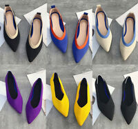 Womens Chic Pointy Toe Breathable Work Shoes Slip On Flats Driving Loafers Party