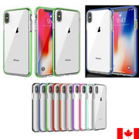 For iPhone 7 8 Plus X XS XR- ShockProof Soft TPU Colored Bumper Clear Back Cover