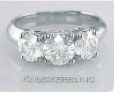 Diamond 3-Stone Trilogy Ring 2.00ct Round Brilliant Cut in 18ct White Gold