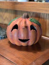 Vintage Heavy Clay Pottery HALLOWEEN Jack O'Lantern Pumpkin, Made Mexico