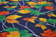 Japanese Woollen Fabric Blue, Red, Yellow and Green  Maple leaves Design 1061