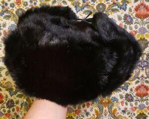 RUSSIAN USHANKA Black MINK FUR HAT