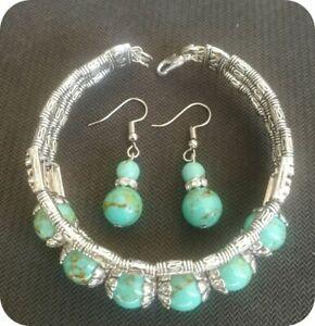 Ladies Bangle Tibetan Silver Bangle Green Turquoise Woman Bracelet Earrings Set