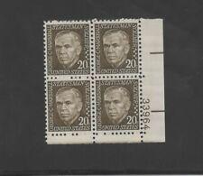 US Scott #1289   Mint-OG/NH  XF  1967   20c   Deep Olive  Plate Block Of 4