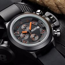 MEGIR Big Face Quartz Wrist Watch Army Diver Stopwatch Silicone Band Men Gift