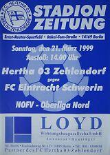 Programm 1998/99 Hertha 03 Zehlendorf - Eintracht Schwerin