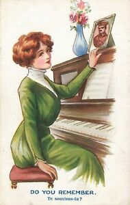 WW1 Fred Spurgin Comic Postcard: Home Front Sweetheart & Piano Theme