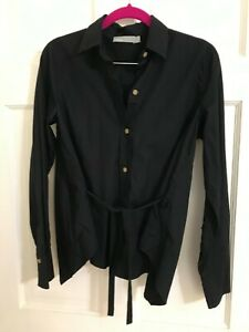 Vince Navy Tie Button Down Shirt Small 100% Cotton