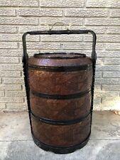 Vintage Chinese 3 Tier Large Wedding Food Basket 23.5�Tall