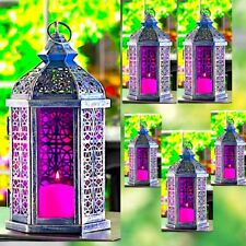 6 Antiqued Pewter Finish Lantern Pink Ornate Candleholder Wedding Centerpieces