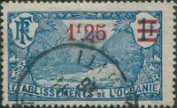 French Oceania 1916 SG69 1f.25 on 1f ultramarine and blue Valley of Fautaua FU