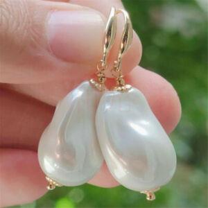 Natural Pearl gold Earrings eardrop 18K Chain girl Gift CARNIVAL Beautiful