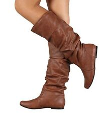 Womens Knee High Flats Leather Boots Ladies Winter Warm Casual Shoes Size 2-7 UK