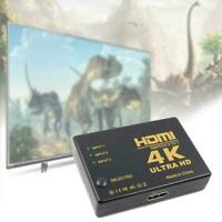 4K*2K 3in 1out HDMI Hub Splitter TV Switcher Adapter For HDTV PC Ultra HD