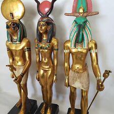 Ancient Egyptian Figurines god Thoth Horus Hathor Gold Statues Trio