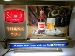 Vintage Schmidt Beer cash register topper with on/off Thank You light sign