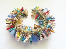 Colors OF The SOUTHWEST -  Handcrafted VINTAGE Bead CHARM Bracelet - GOLD Chain+