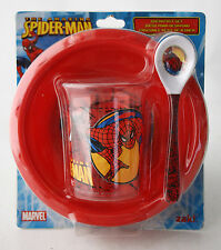 RARE 2008 SPIDERMAN 3 PIECE BREAKFAST SET BOWL TUMBLER SPOON ZAK MARVEL NEW !