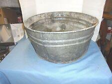 round galvanized metal washtub with handles rough bottom #4 yard garden decor