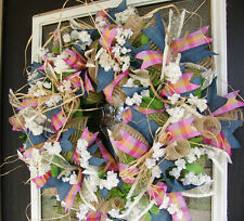 Country Farmhouse Spring Deco Mesh Front Door Wreath, Denim Floral Easter Decor