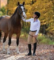 Shires Equestrian Style Show Shirt with Patterned Collar and Cuffs