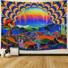 Trippy Planet Mountains Tapestry Psychedelic Wall Hanging Blanket Art Home Decor