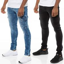 Enzo Mens Skinny Cargo Jeans Distressed Denim Stretch Fit Trousers Ripped Pants