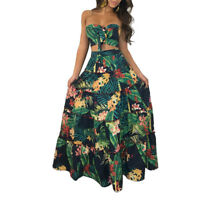 Set Long Maxi Skirt Women Beach Top Floral Two Dress Party Crop Piece