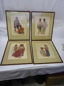 Vintage  Lithograph set of 4 Mayan Ethnic People by Frederick Crocker Jr. Framed