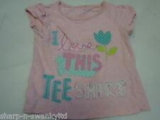 Bebé Niña Rosa Estampado Bordado 100% Algodón Camiseta Superior Edad 9-12 meses