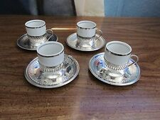 LOT OF 4 VERA CRUZ DEMITASSE CUPS/SAUCERS/SILVER PLATED HOLDERS  BRAZIL/SOLIDTE