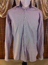 Mens MICHELSONS STUDIO LONDON Modern Fit L Large Lavender Flip Cuff Shirt EUC