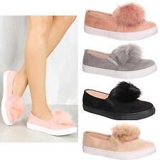 Womens Ladies Slip on Suede Trainers  Flat Plimsoll Pom Pom Sneakers Shoe Size