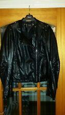 ZARA TRF nero in finta pelle con borchie Zip Giacca Biker taglia L