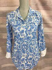 LILLY PULITZER Top Sz XS Blue White Shake It Up Monkey  Resort Fit Shirt Blouse