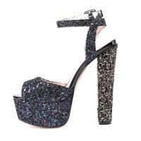 Onlymaker Women Peep Toe Platform Ankle Strap High Heel Glitter Sandals Clubwear