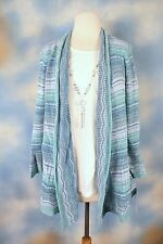 NEW ALFRED DUNNER sparkle layered look blouse cardigan attached necklace SZ: L
