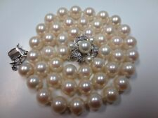 """16"""" Salt Water Pearl Necklace with 14k White Gold Pearl Diamond Clasp"""
